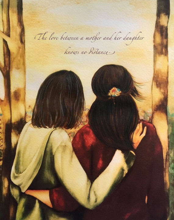 gift for mom, wall art decor, love, artwork, gift for  daughter, The love between a mother and her daughter knows no distance.