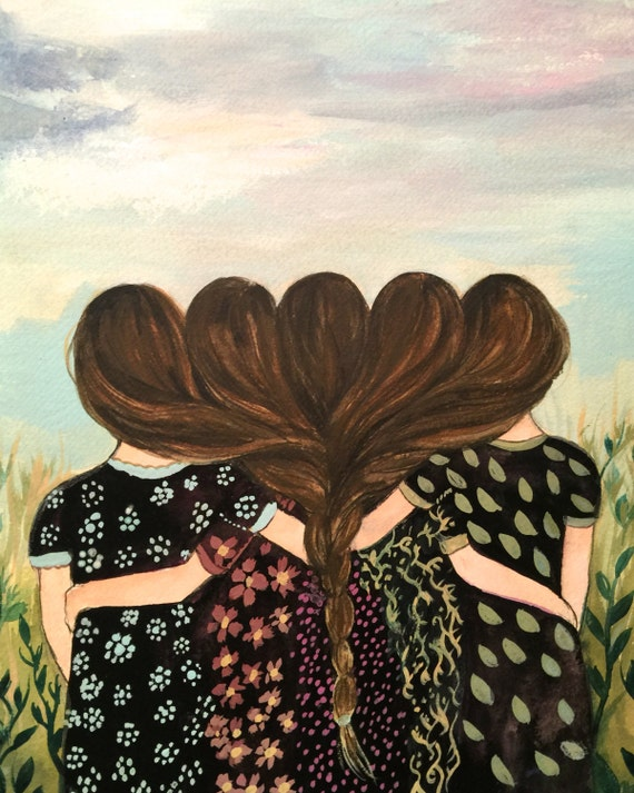 Five sisters best friends  with brown   hair art print
