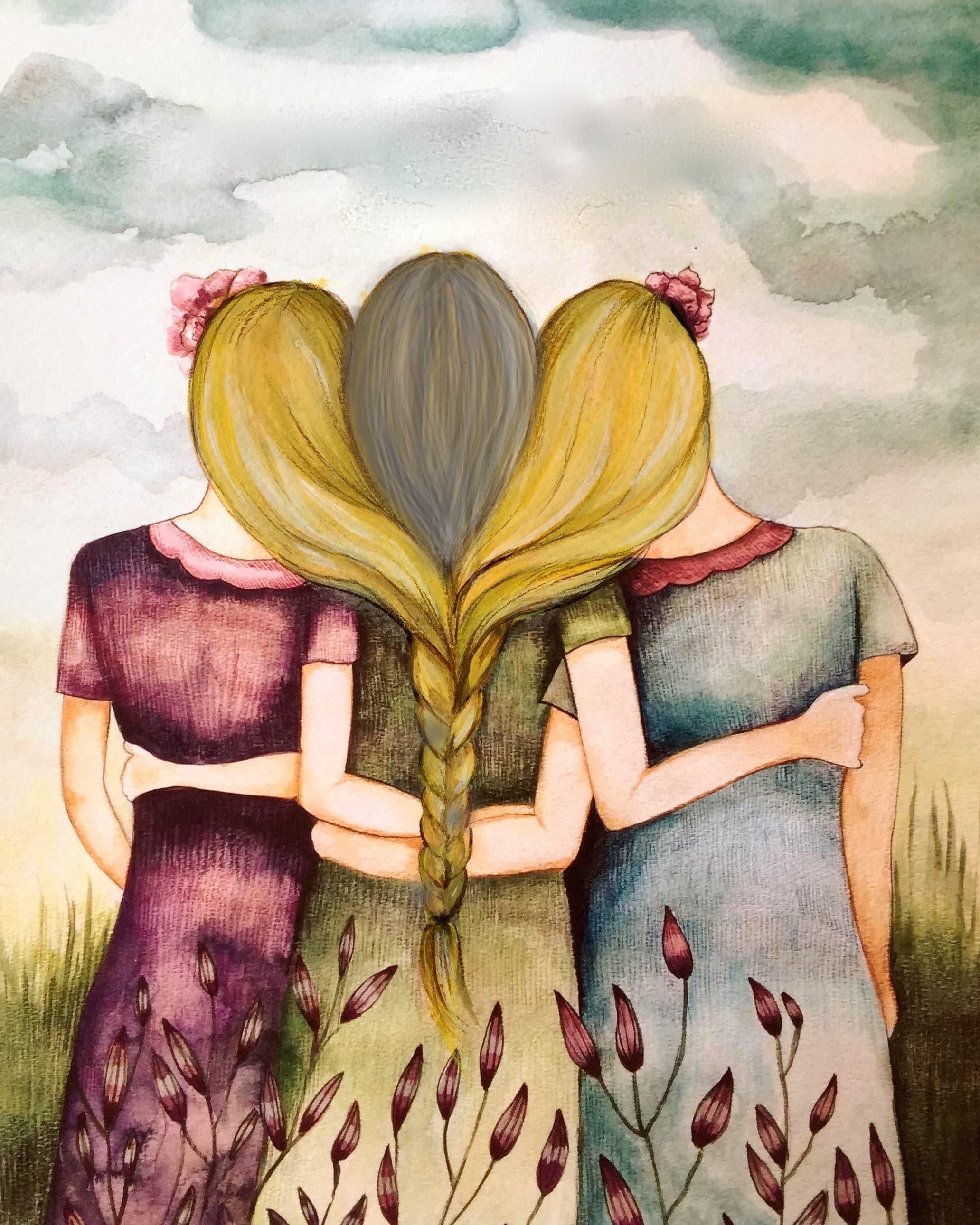 Three Blonde Hair Sisters Best Friends Art Print