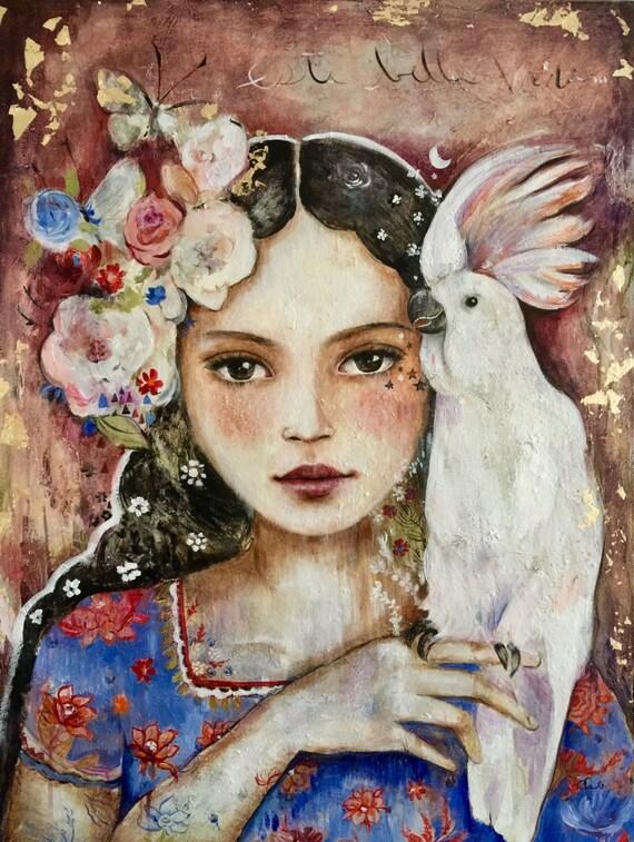 eva luna with white bird