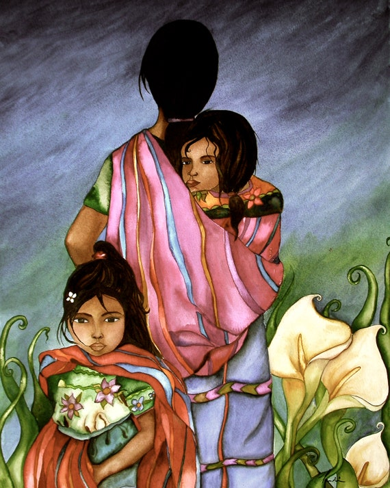 Guatemala family, 2 daughters, artwork, gift for  daughter, Mother and daughters in sling,reboso, guatemala art