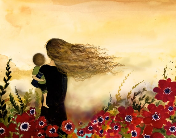 gift for mom, wall art decor, love, artwork, gift for  daughter, print of mother and child in red flower field.