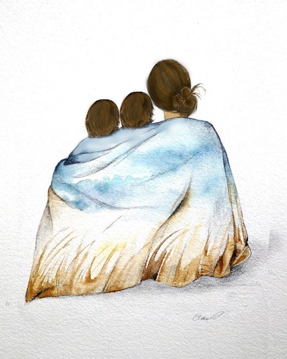 gift for mom, wall art decor, love, artwork, gift for son, mother and two son art print brown hair