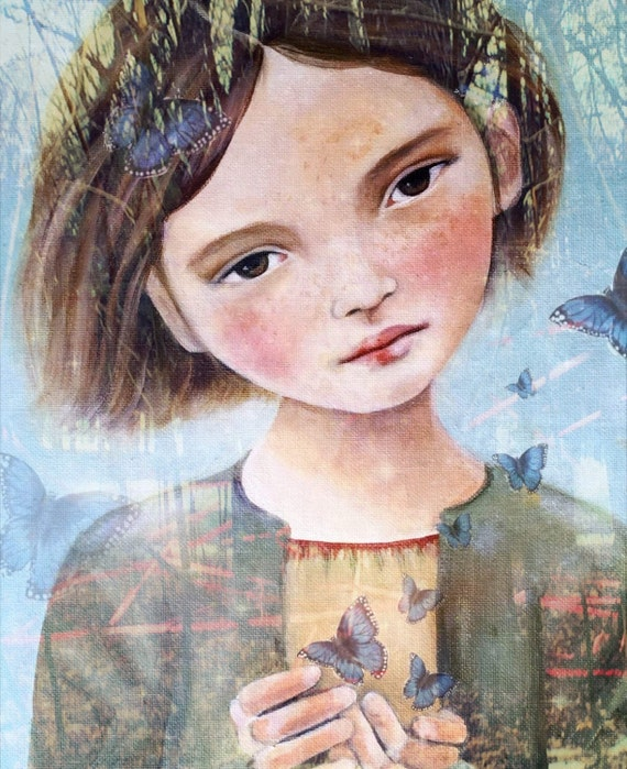 Little angel with blue butterflies art print