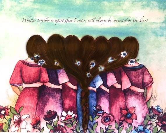 7 sisters gift to sister, gift for friend, intertwined hair, braided hair, wall art gift for sisters, Seven sisters art, 7 best friends art