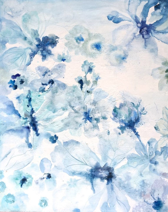 Abstract watercolors dreamy blue