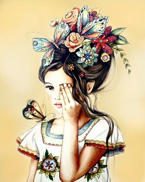 female empowerment,art print ,drawing, love, portrait artwork ,claudia tremblay Roses and black butterfly in her hair..
