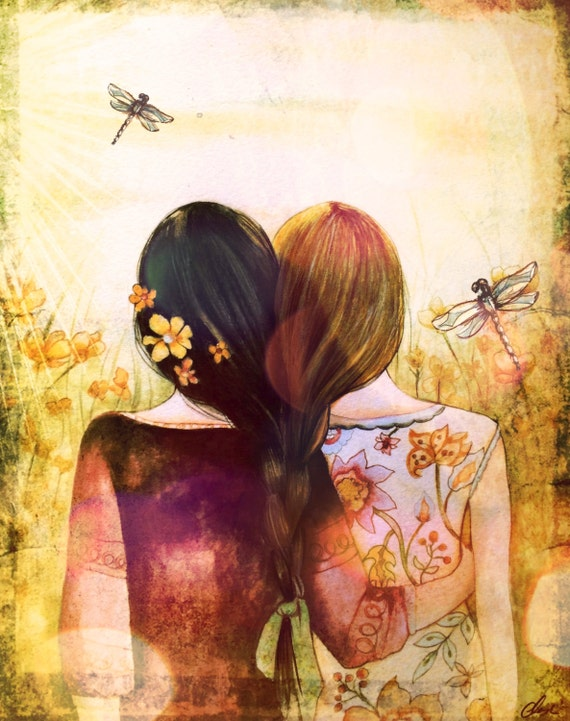 black and blonde hair sister best friend art print with dragonfly