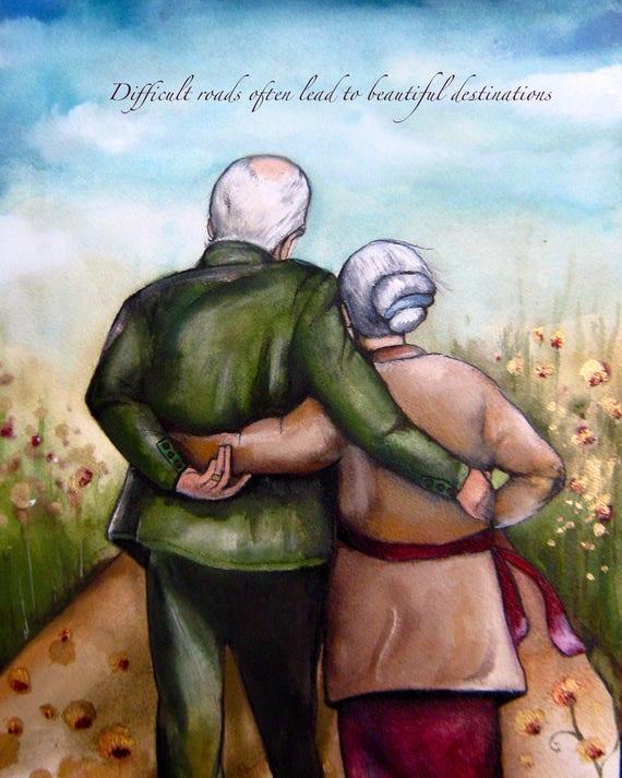 Elder Couple Idea Wedding Anniversary 50th Anniversary Etsy