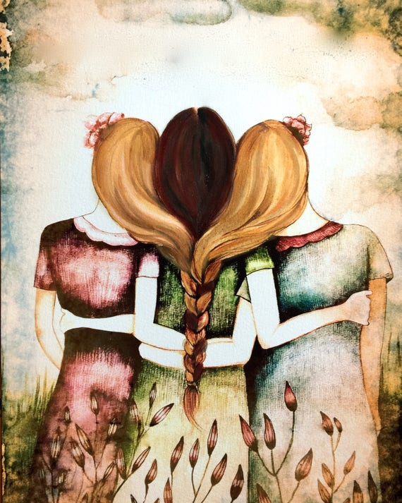 sister gift to sister, gift for friend, intertwined hair, braided hair ,wall art gift for sister three sisters blonde and brown braided hair
