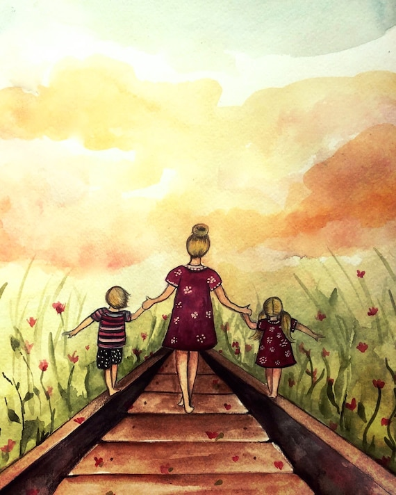 """Mother and two children """"our path"""" art print, gift idea mother's day"""