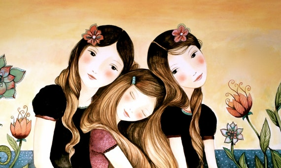 sister gift to sister, gift for friend, intertwined hair, braided hair ,wall art gift for sister Three sisters at sunset art print