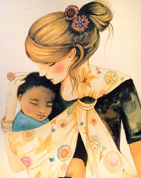 gift for mom, wall art decor, love, artwork, gift for  daughter, mother and child with beige baby sling