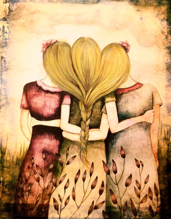 Three blonde sisters vintage  art print