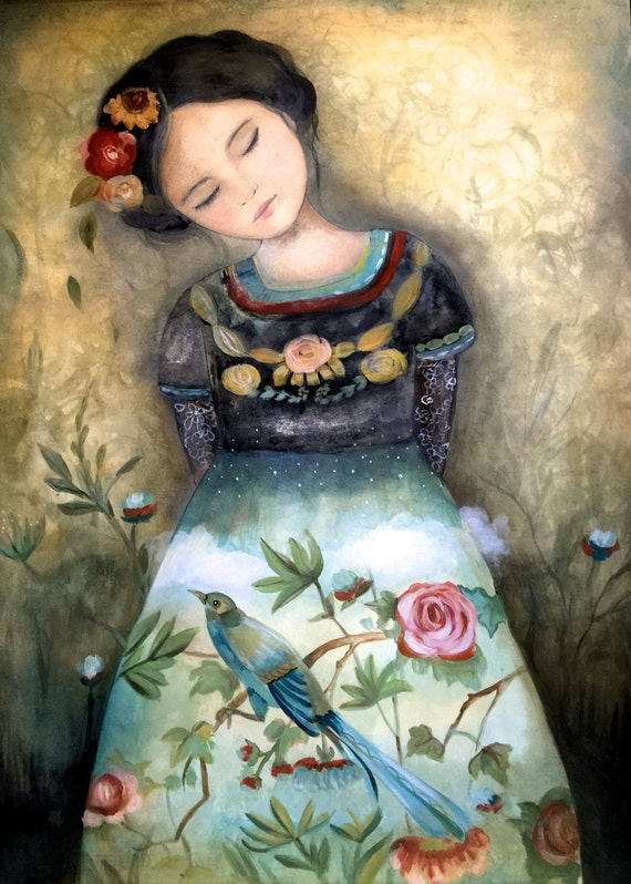 female empowerment, art print ,woman artwork,  portrait artwork ,claudia tremblay spring is coming..