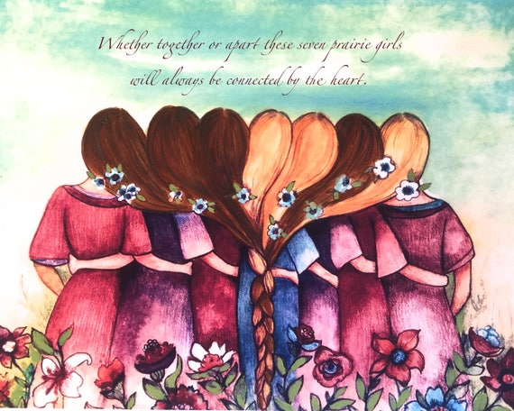 sister gift to sister, gift for friend, intertwined hair, braided hair ,wall art gift for sister Seven sisters best friend
