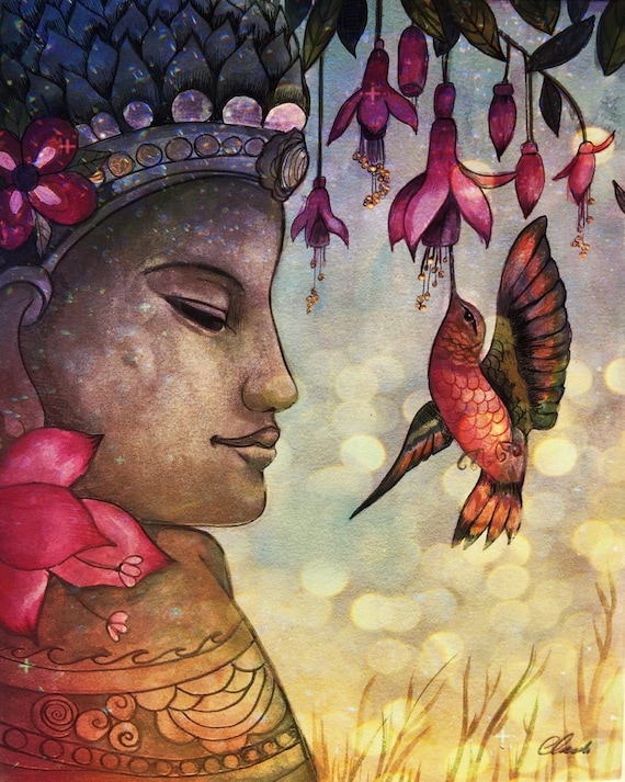 Buddha and hummingbird art print decor