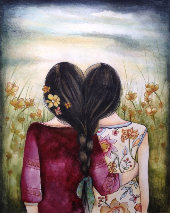 sister gift to sister, gift for friend, intertwined hair, braided hair ,wall art gift for sister Art print sisters best friends black hair