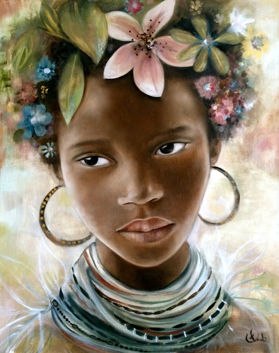 female empowerment,art print ,drawing, love, portrait artwork ,claudia tremblay african girl with flowers