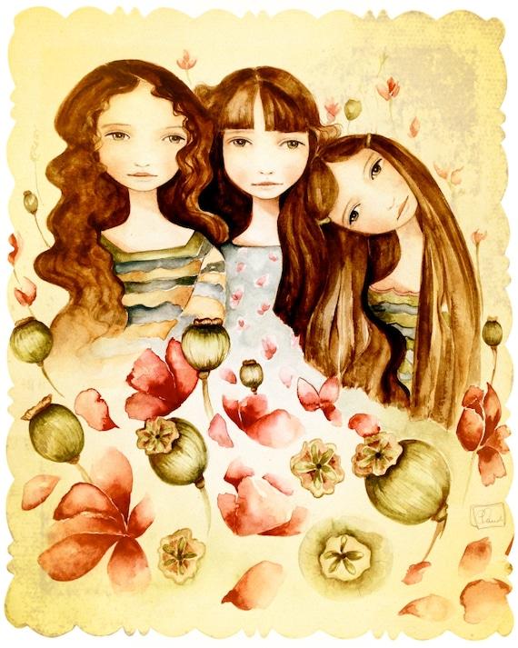 The 3 sisters vintage art print brown hair