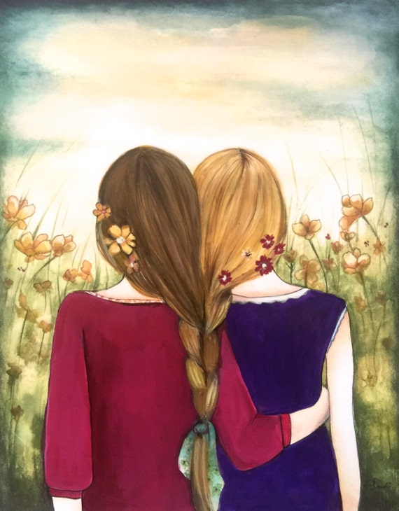 Art print sisters best friends  gift idea  with brown and blonde hair