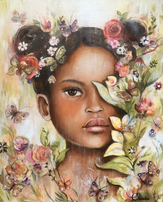 female empowerment,art print ,drawing, love, portrait artwork ,claudia tremblay Tanya in spring