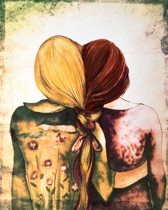 Siblings gift, sisters art print auburn and blonde hair gift idea