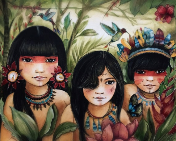amazon river children inspired art print