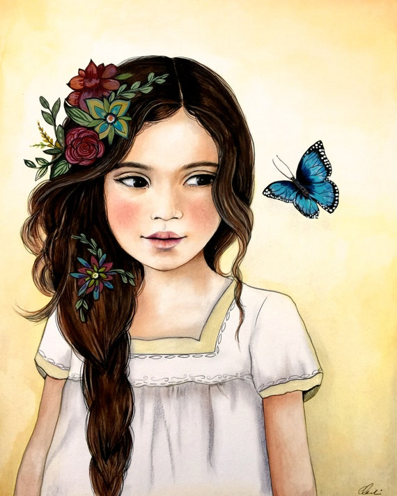 female empowerment, art print ,woman artwork,  portrait artwork ,claudia tremblay flowers in her hair..2