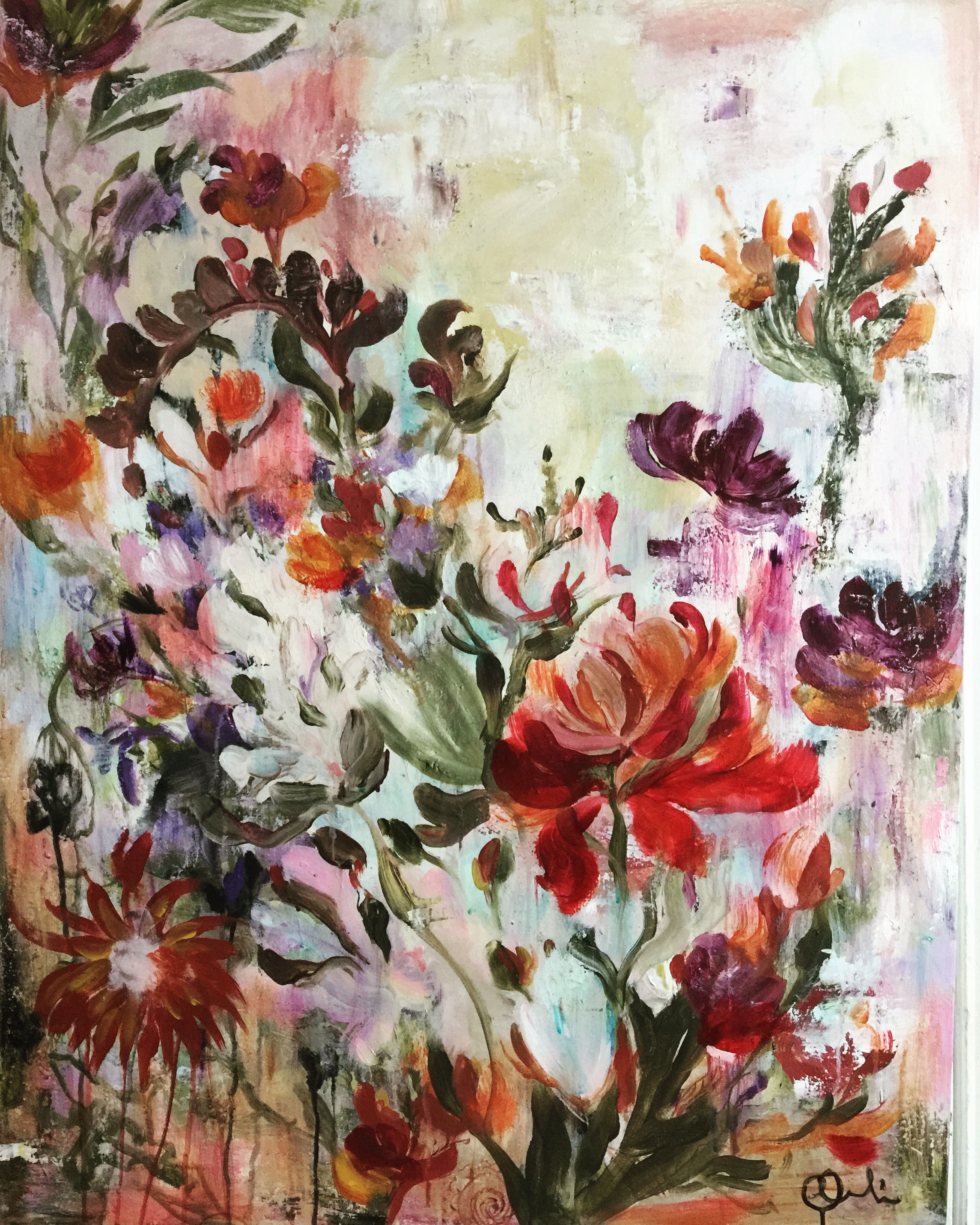 Floral Art On Canvas
