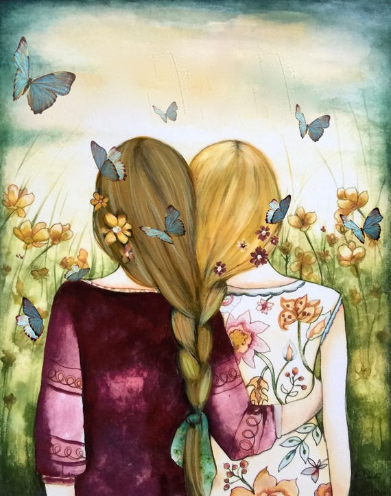 Intertwined braided hair best friends sisters blue butterflies