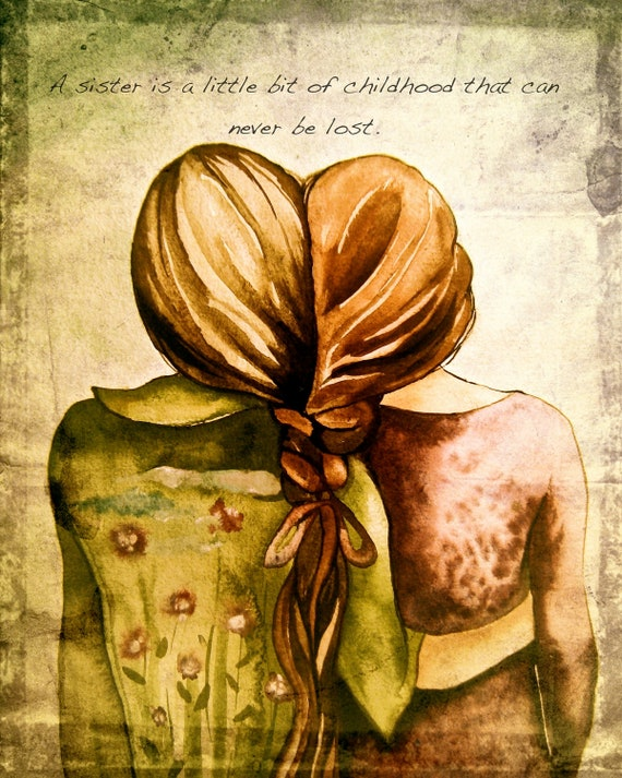sister gift to sister, gift for friend, intertwined hair, braided hair ,wall art gift for sister sisters  art print with quote