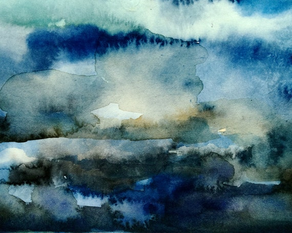 Abstract watercolors in blues