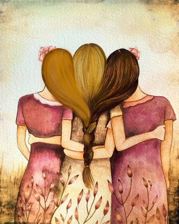 Three sisters art  print hair intertwined girft for sister gift for friend