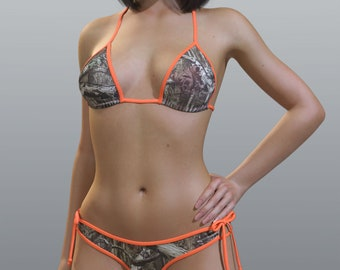 92674bbac2 Realtree camo print - loop tie scrunch butt bikini set - matching triangle  top with pads - made to order