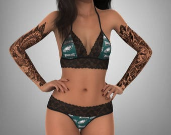 5ebb66b5ef4 Philadelphia Eagles sexy scallop lace top - matching G string panty  lingerie set