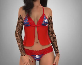 a92d02a9f867 Buffalo Bills sexy red lace camisole lingerie top - matching scallop lace G  string set