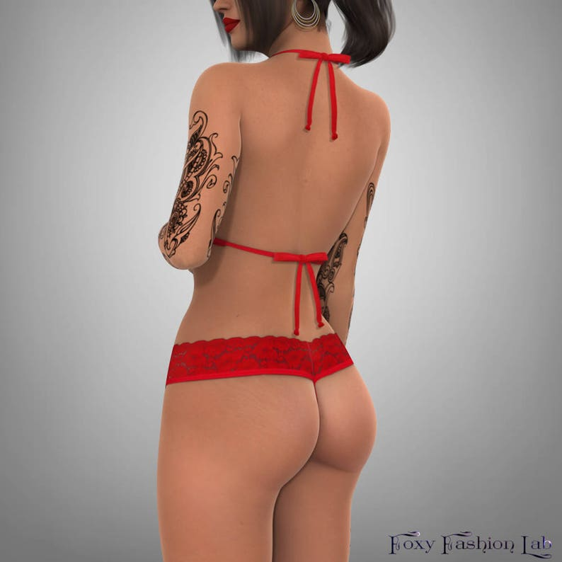 a824f8d5b3 NCAA Georgia Bulldogs red lace top matching G string panty
