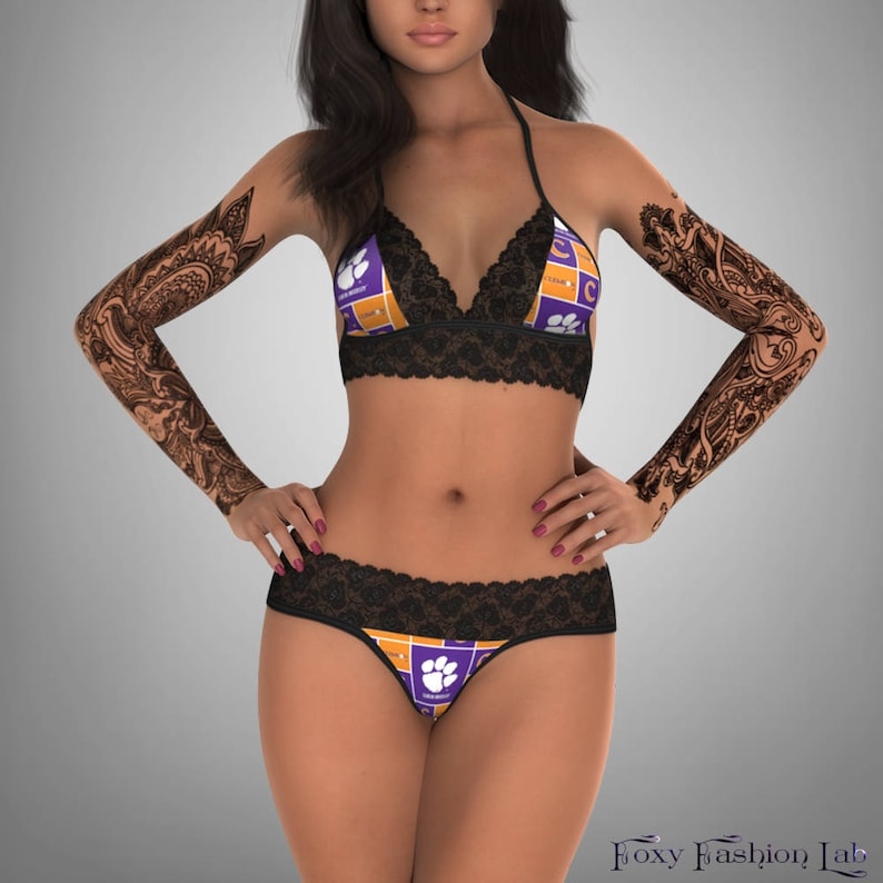 38d4772b0803 NCAA Clemson Tigers lace top with matching G string panty