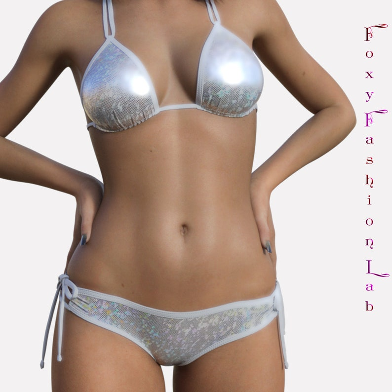 f4824eb3bfa Sexy cheeky scrunch butt bikini white ice hologram padded | Etsy