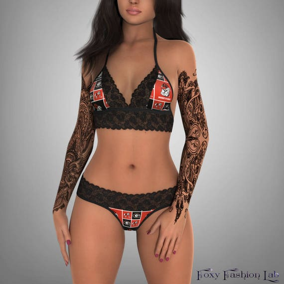 56fd142802 NCAA Georgia Bulldogs lace top with matching G string panty