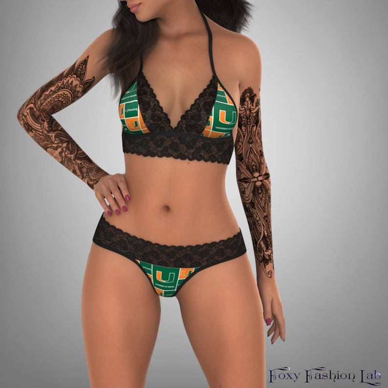 8c27ebceac NCAA Miami Hurricanes lace top with matching G string panty