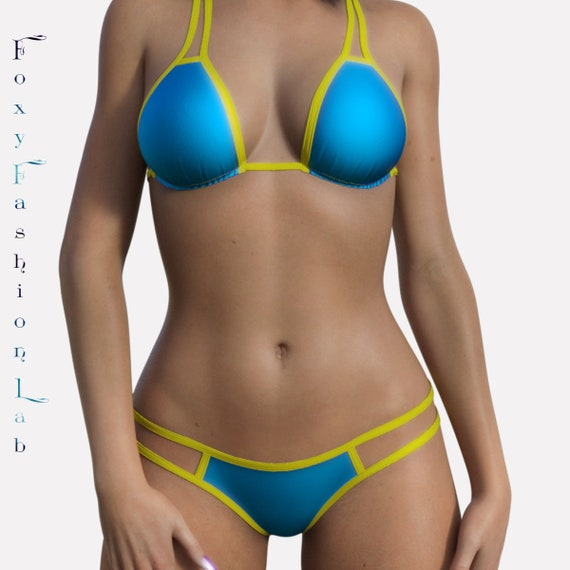 db4d6f54a2 Micro strappy scrunch butt bikini tuquoise with neon yellow