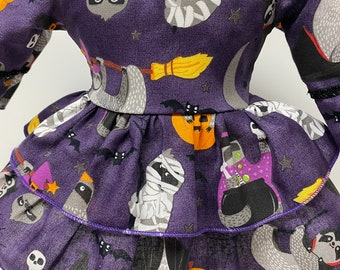 Halloween Sloths, Criss Cross Ruffled Dress for Your 18 Inch Doll C