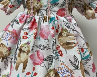 Sleepy Sloths Short Sleeved Dress for your 18 Inch Doll D