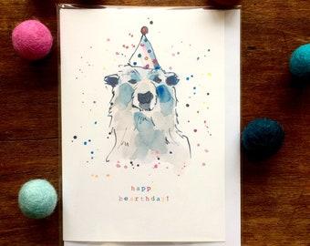 """Birthday Card - Polar Bear  """"Happy Bearthday"""" Card - Multicolour - Illustration"""