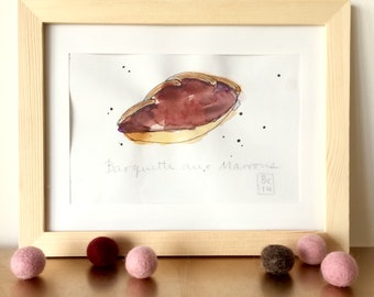 Barquette aux marrons Illustration - Chestnut Cream Cake - French Cake - Pastry  - Original Ink and Watercolour on Paper