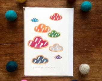 Card - French - Passage nuageux - Multicolour Cloud with white stripes