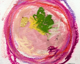 """Original Pastel Watercolour and Pencil drawing with gold leaf """"#7"""""""