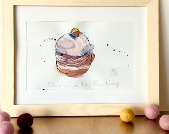Choux à la Praline Illustration - Cake - French Cream Puff Cake - Pastry  - Original Ink and Watercolour on Paper